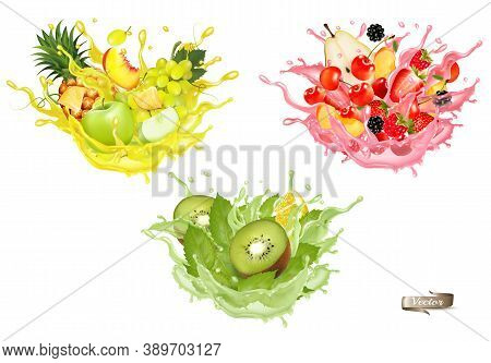Set Of Fruit Juice Splash. Whole And Sliced Pineapple, Mango, Peach Lime, Orange, Banana In Juice Or
