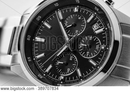 Luxury Watch Isolated On White Background. Clean Watch. Men Watch. Marco Photography.