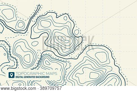 Map Line Of Topography. Vector Abstract Topographic Map Concept With Space For Your Copy. Green Cont