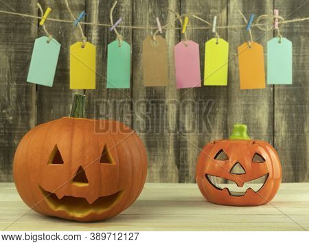 Holiday Pumpkin Lanterns Are Hand Carved. Fresh Pumpkin Lanterns Are Hand Carved As Background With