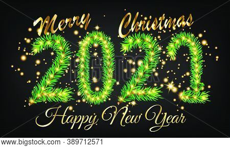 Happy New Year 2021 Christmas Design With Burst Glitter On Black Colour Background - Happy New Year