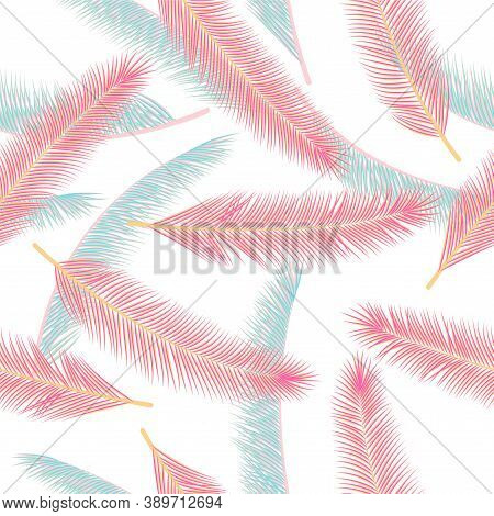 Tropical Feather Plumage Vector Pattern. Vintage Illustration. Airy Natural Feather Plumage Wallpape