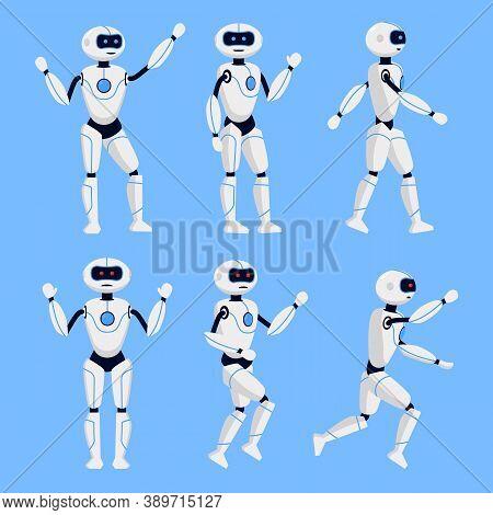 Robot Animation Set On A Blue Background Flat Design Style. Vector Illustration Of Cyborg