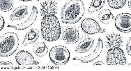 Vector Seamless Pattern With Hand Drawn Fruits In Sketch Style. Farm Market Products.
