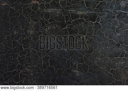 Black Cracked Old Paint Texture Abstract Vintage Background With Cracked Cobwebs