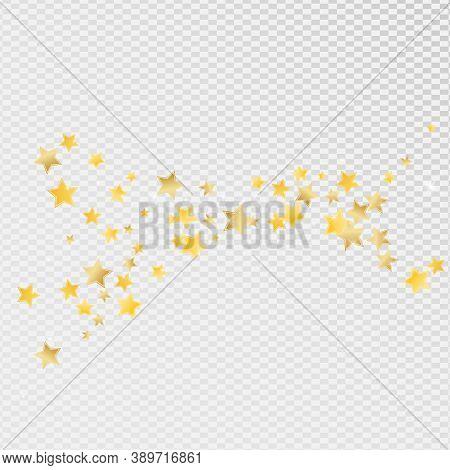 Yellow Luxury Stars Vector Transparent Background. Celebration Starry Design. Dust Wallpaper. Gold S