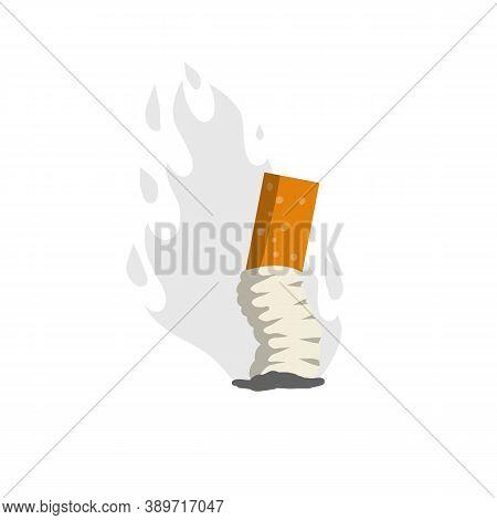 Cigarette Butt. Bad Harmful Habit Of Smoking. Small Object. Ash And Smoke.