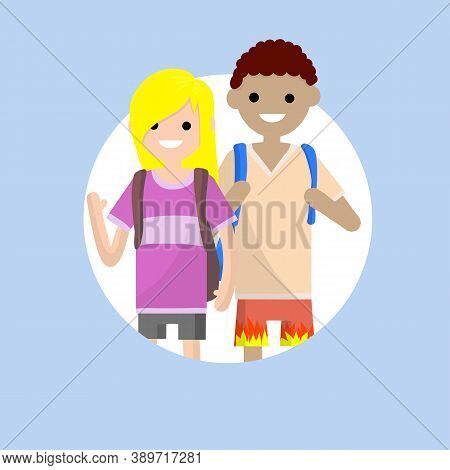 Couple In Summer Clothes. Students Boyfriend And Girlfriend With Backpacks. Travelers Man And Girl.