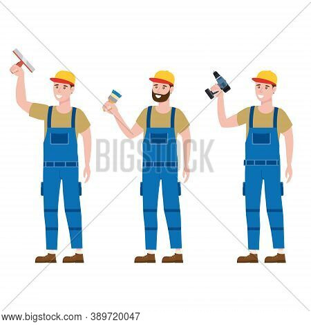 Set Construction Workers With Cordless Screwdriver, Brush, Plastering Trowel Tools In Workwear. Craf