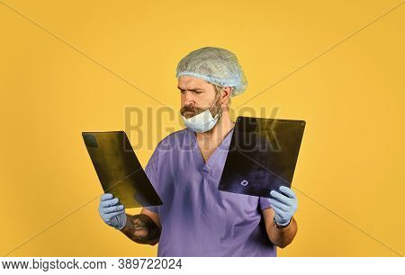 Hospital Emergency. Surgeon Estimate Damages. Doctor Uniform. X-ray Concept. X Ray Radiation. The Do