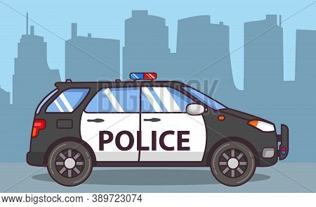 Police Suv. Off-road Car Side View. Flat Line Art .