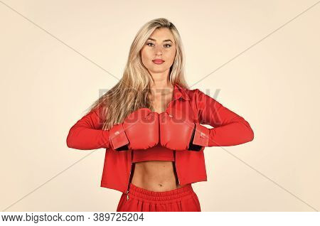 Self Improvement. Sporty Girl Red Clothes Boxing Gloves. Gym And Workout. Fitness Model. Sporty Life