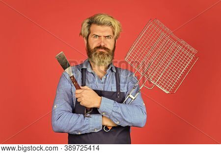 Cooking Utensils. Summer Picnic. Bbq American Tradition. Hipster Dyed Beard Promoting Bbq Equipment.