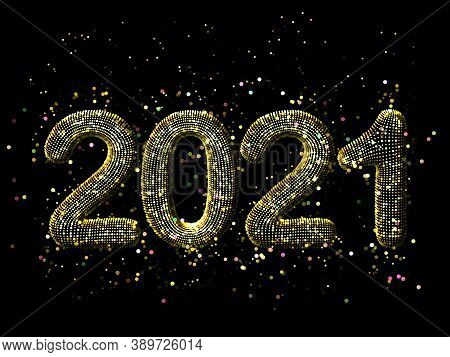 Happy New Year Greeting Glamorous Postcard: 3d Golden Glittering Text 2021 With Shiny Sparkles On Bl