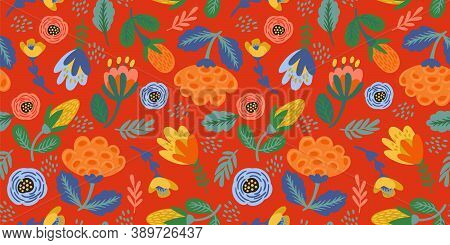 Folk Floral Seamless Pattern. Modern Abstract Design For Paper, Cover, Fabric, Pacing And Other.