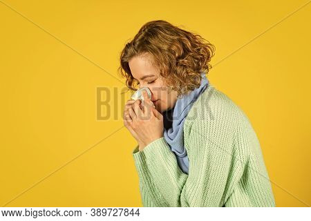 Sneezing In Napkin. Symptoms Of Disease. Runny Nose Caused By Illness. Ill With Laryngitis. Acute Re
