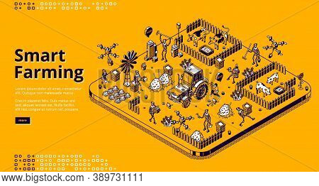 Smart Farming Isometric Landing Page With Robots And People Working On Farm Or Field, Cyborgs Feedin