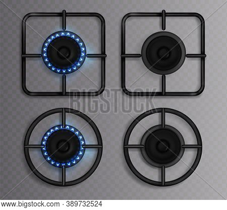 Gas Burner With Blue Flame. Kitchen Stove With Lit And Off Hob. Vector Realistic Set Of Circle And S