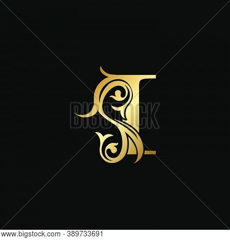 Luxury Gold Letter I Floral Leaf Logo Icon,  Classy Vintage Vector Design Concept For Emblem, Weddin