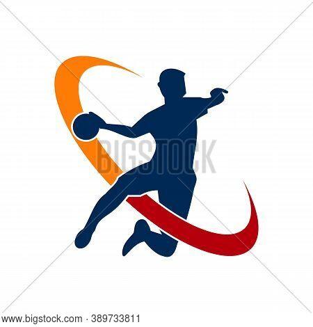 Handball Vector Sign. Abstract Colorful Silhouette Of Player For Tournament Logo Or Badge. Handball