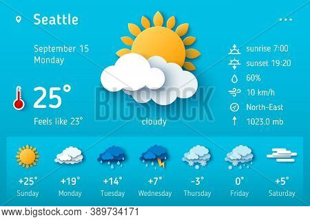 Weather Forecast Widget. Vector Illustration. Daily Weather Forecast Application Template. Temperatu