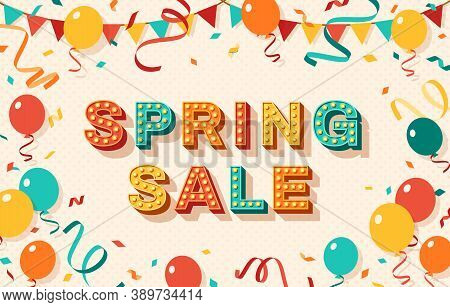 Spring Sale Greeting Card With Retro Typography Design. Vector Illustration. 3d Colorful Letters Wit
