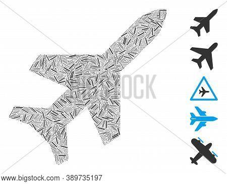 Dash Mosaic Based On Aeroplane Icon. Mosaic Vector Aeroplane Is Formed With Random Dash Items. Bonus