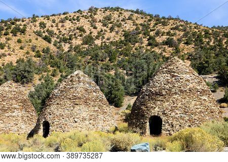 October 5, 2020 In Death Valley, Ca:  Historical Kilns Which Are Ovens That Made Charcoal For Mining