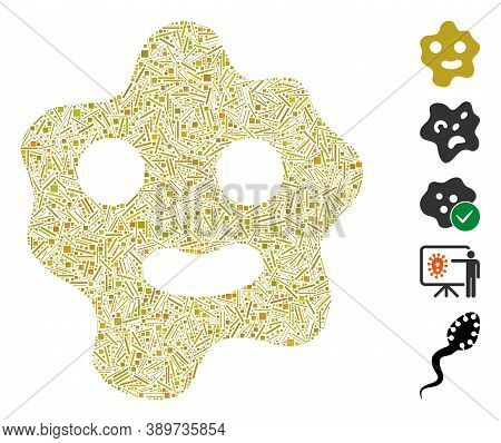 Line Mosaic Based On Ameba Icon. Mosaic Vector Ameba Is Composed With Scattered Line Items. Bonus Ic