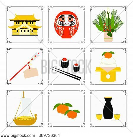 Symbols Of The Japanese New Year 2021 Castle, Daruma, Tangerine, Sake Set, Arrow, Food, Treasure Shi
