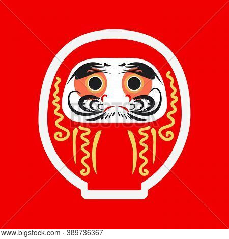 Happy Japanese New Year 2021. Daruma- Japanese Traditional Doll. Roly-poly Toy Vector Illustration.