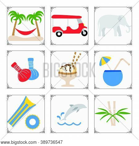 Thailand Symbols Set Vector Illustration Tuk-tuk, Palm Trees, Hammock, Elephant, Herbal Pouches For
