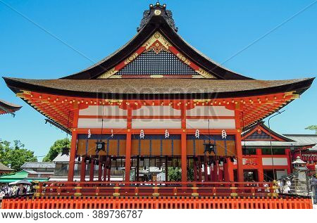 Japanese Shinto Shrine Temple With Blue Sky Wooden Old Building Architecture Perfect Historical Red