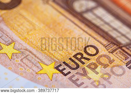 Euro Bills Print Detail Taken In Macro Shot. Cash, European Union, Money Concept.