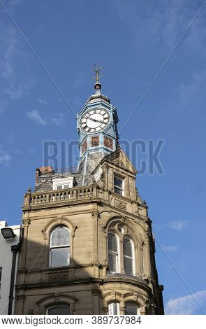 Doncaster, Yorkshire, Northern England -  October 7, 2020. Close Up Of The Iconic Clock Corner Donca