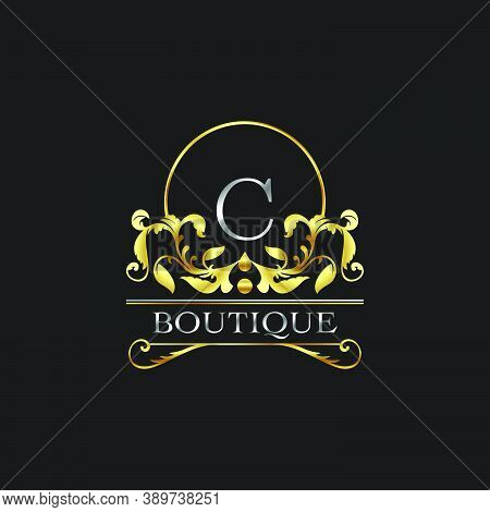 Stylish Graceful Golden Luxury C Logo. Elegance Vector Template Made Of Wide Silver Alphabet With Li