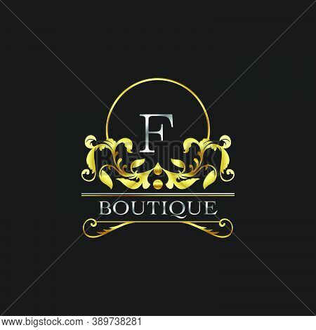 Stylish Graceful Golden Luxury F Logo. Elegance Vector Template Made Of Wide Silver Alphabet With Li
