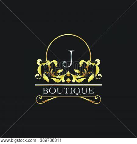 Stylish Graceful Golden Luxury J Logo. Elegance Vector Template Made Of Wide Silver Alphabet With Li