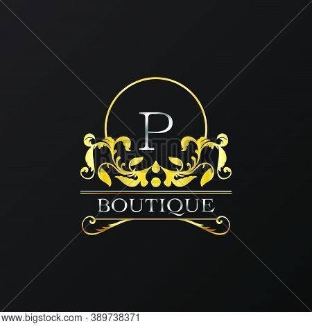 Stylish Graceful Golden Luxury P Logo. Elegance Vector Template Made Of Wide Silver Alphabet With Li