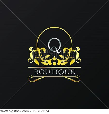 Stylish Graceful Golden Luxury Q Logo. Elegance Vector Template Made Of Wide Silver Alphabet With Li