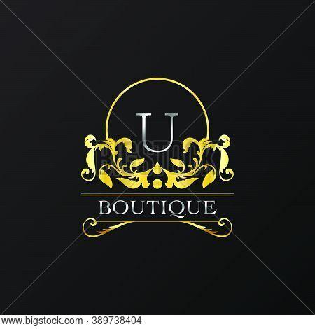 Stylish Graceful Golden Luxury U Logo. Elegance Vector Template Made Of Wide Silver Alphabet With Li