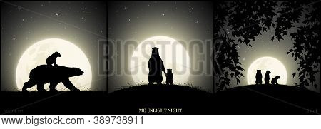 Polar Bears Family Walking In Grass On Moonlight Night. Animal Baby Silhouette On Back Of Mother. La