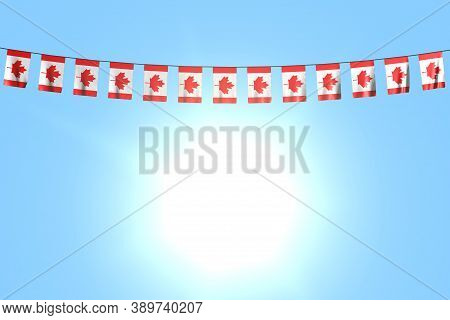 Beautiful Many Canada Flags Or Banners Hanging On String On Blue Sky Background - Any Feast Flag 3d