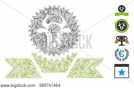 Dash Mosaic Based On Cattle Award Ribbon Icon. Mosaic Vector Cattle Award Ribbon Is Composed With Ra