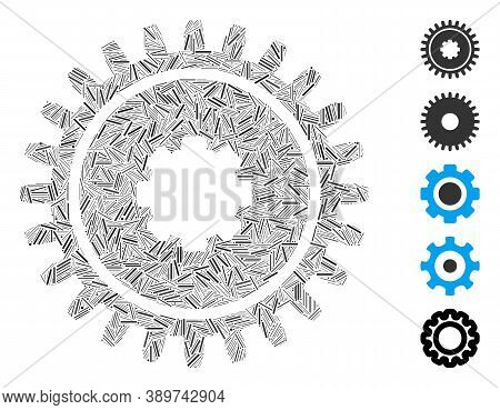 Hatch Mosaic Based On Cogwheel Icon. Mosaic Vector Cogwheel Is Created With Randomized Hatch Element