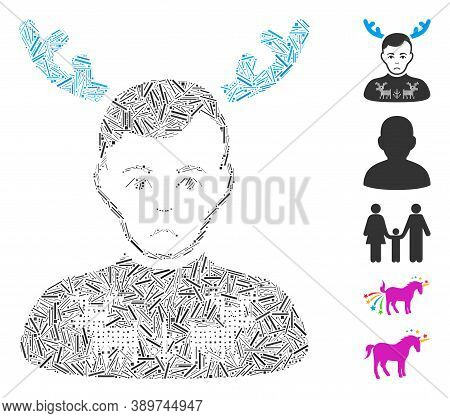 Hatch Mosaic Based On Deers Pullover Horned Husband Icon. Mosaic Vector Deers Pullover Horned Husban