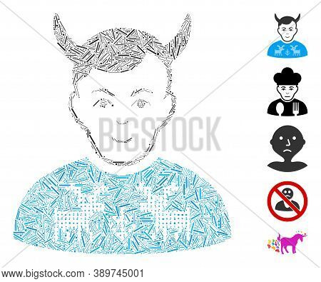 Dash Mosaic Based On Deers Pullover Horned Husband Icon. Mosaic Vector Deers Pullover Horned Husband