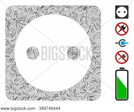 Hatch Mosaic Based On Electric Socket Icon. Mosaic Vector Electric Socket Is Formed With Randomized