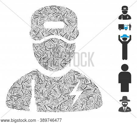 Hatch Mosaic Based On Electrician Boy Icon. Mosaic Vector Electrician Boy Is Formed With Scattered H