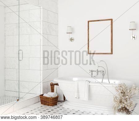 Poster Mockup In White Cozy Bathroom Interior Background, 3d Illustration